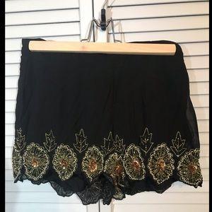 Beaded Black Scalloped mini shorts